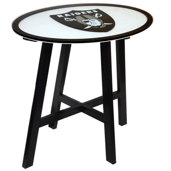 Oakland Raiders Wood Logo Pub Table