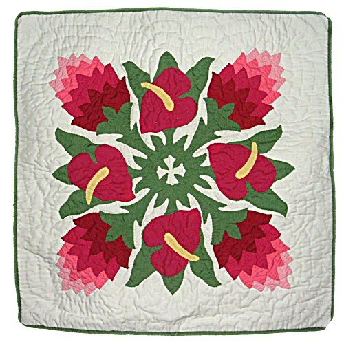 "Hawaiian Ginger & Anthurium Flowers Quilted Pillow Cover- 18"" East of Maui Hawaiian Store,http://www.amazon.com/dp/B005WKSJ74/ref=cm_sw_r_pi_dp_Q0Kosb1F85F64B3Q"