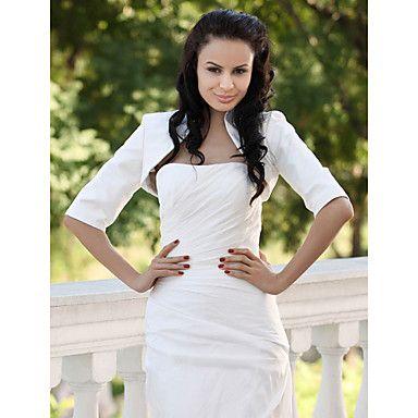 Half Sleeves Taffeta Bridal Jacket/ Wedding Wrap – USD $ 29.39