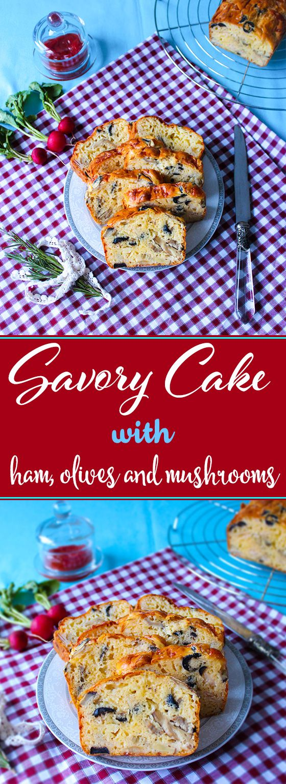 Savory cake filled with lots of cheese, mushrooms, turkey ham and olives. Tastes like pizza!