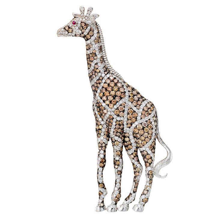 1stdibs | Whimsical Multicolored Diamond Giraffe Brooch