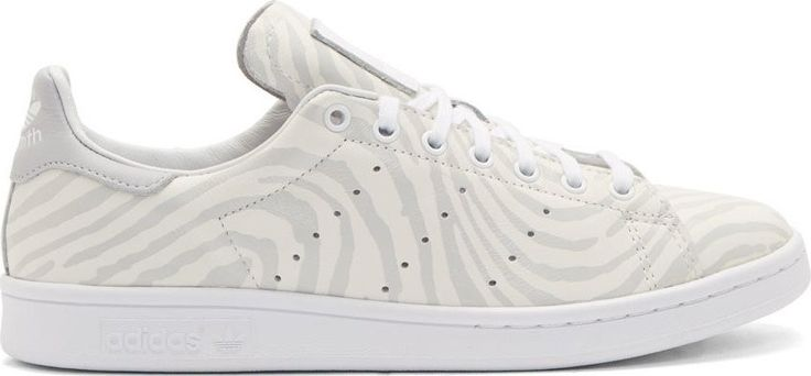 White Leather Stan Smith Fingerprint Sneakers by Adidas Originals x Opening Ceremony