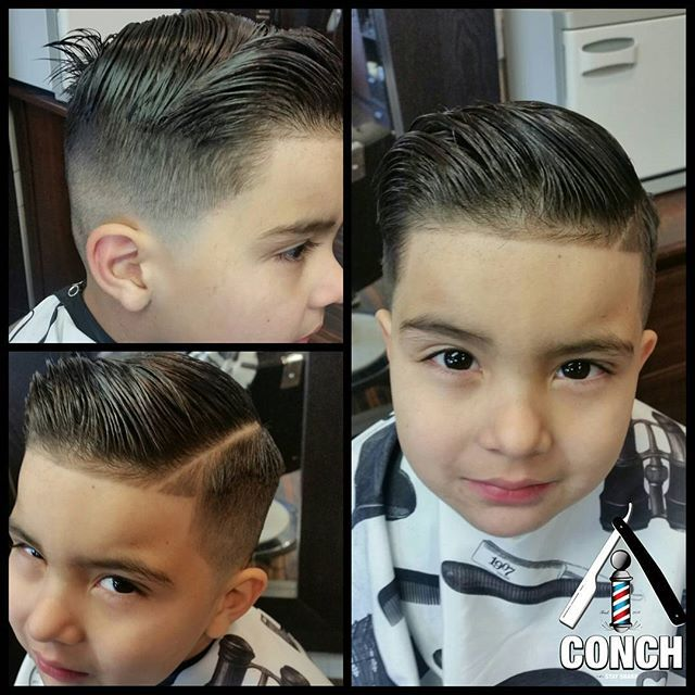 """slick haircut with a quiff (except for the rooster tail in back....i was taught very early in barber school that anything under 2"""" is apt to spike)"""
