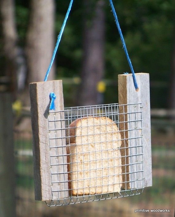 Bread or Toast Bird Feeder. Probably more like a squirrel feeder at my house, but still a cool and simple idea.