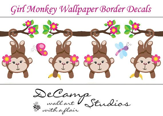 Girl Monkey Wallpaper Wall Art Border Decals for baby nursery or kids room jungle decor. Pink Girl Monkeys hanging from branches #decampstudios