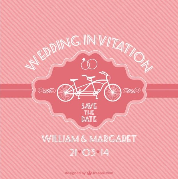 Free pink vintage wedding card with a bike