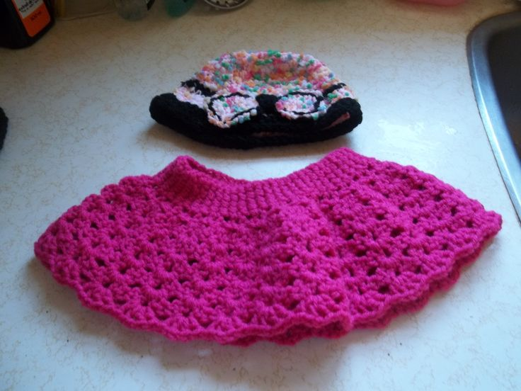 Crocheted Frilly Skirt. I made free hand. No pattern.