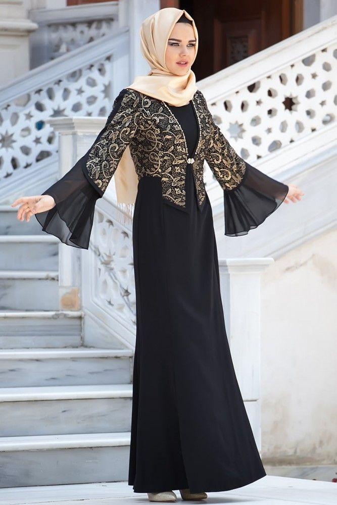 Tesettürlü Abiye Elbise - Siyah Elbise - Thumbnail