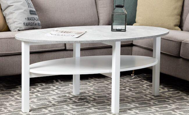12 snyggt ovala soffbord; i vitt, svart, ek, furu, rotting, u2026 Vita möbler och