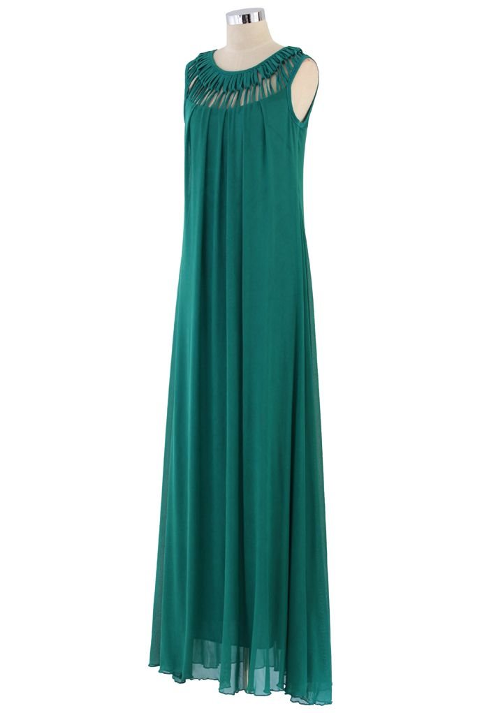 Cage Cut Out Neckline Maxi Dress in Bluish Green