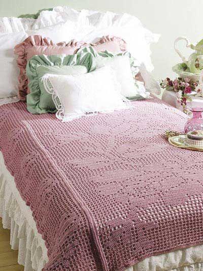 Bed of Roses Filet throw -- crochet pattern