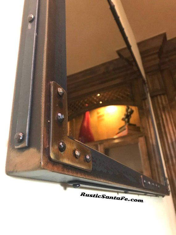 Industrial Welded Steel Mirror Frame With Rivets And Copper