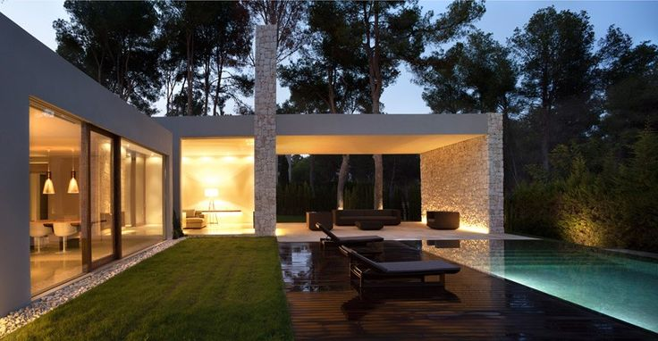 "Spanish architect Ramón Esteve recently designed this house surrounded by a pine forest in Valencia, Spain. The concept holding the design together is one of ""gradual privacy"". Each room, each space in the house has an outdoor area ""paired"" to it, with the mass of the building serving as a guide in this hierarchy."