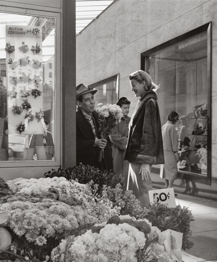 Midcentury San Francisco as Seen by Its Most Famous Photographer -- Union Square flower stand in front if I. Magnin