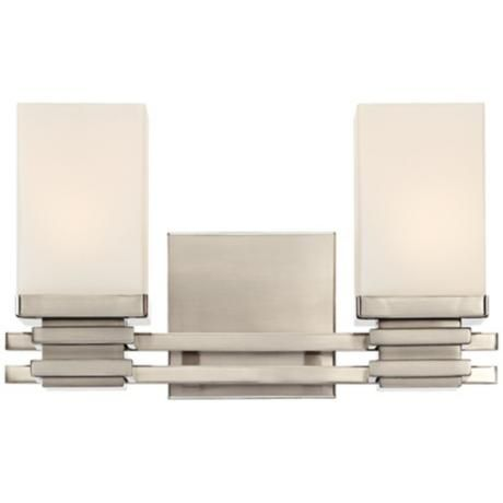 Bennett collection satin nickel wide bathroom wall light lamps plus open box outlet site