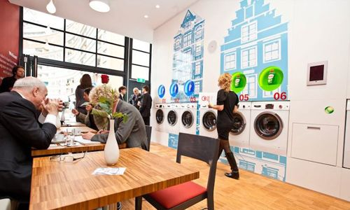 Wash & Coffee, enjoy a cup while doing your laundry at this Amsterdam hotspot. http://www.citizenmag.com/2013/03/21/wash-coffee/