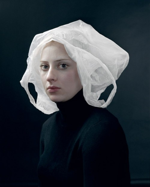 The most beautiful portrait of a person with a plastic bag on her head, ever, so far! hendrik kerstens photographs of daughter mimic dutch portraiture -