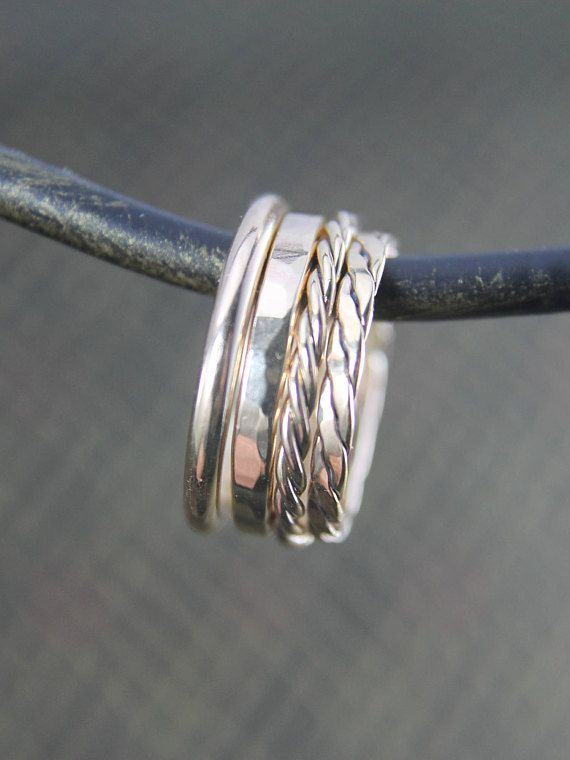 Stackable 14K Gold Fill Ring, Thin Simple Band, Twisted and Hammered Rings, Gift for Him or Her, Size 4 to 15, Mens or Ladies Jewelry