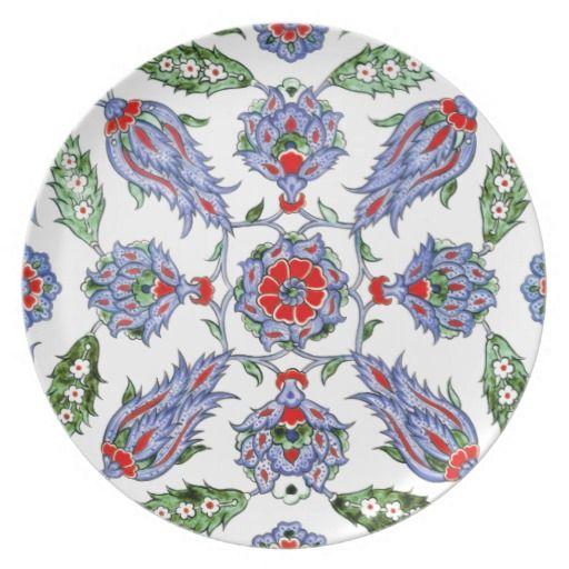 iznik Turkish Persian Floral Ethnic Oriental Tiles Dinner Plate