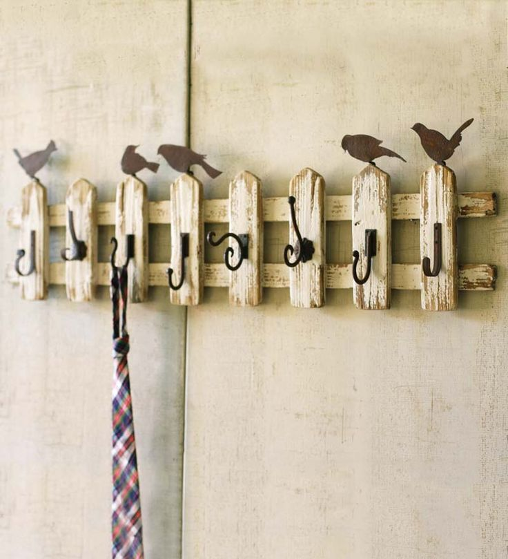 """Wood Picket Fence Wall-Mount Coat Rack With Birds #PS7275;   48""""L x 6-1/2""""D x 15""""H $134.95"""