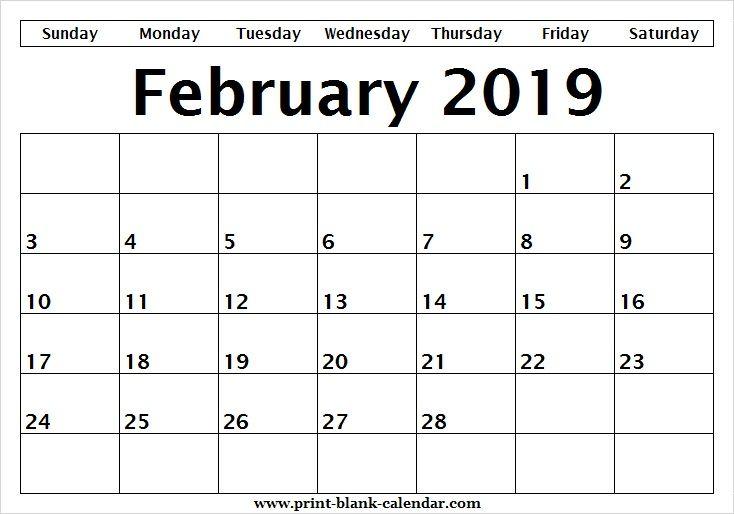 Blank Editable Calendar February 2019 Sheet Printblank Pinterest