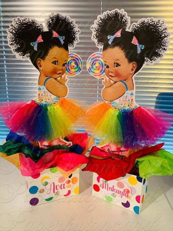 Candyland rainbow african american baby afro puff baby