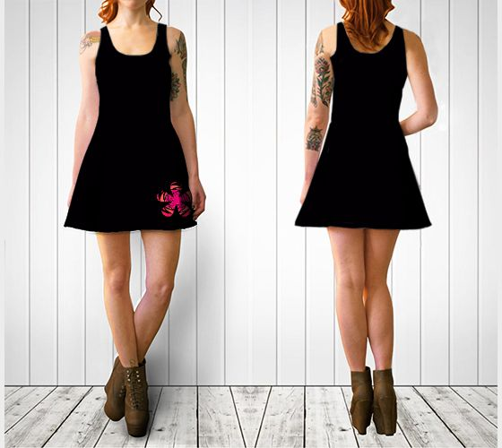 "Flare dress ""Striped Fuchsia Retro Flower Flare Dress"" by Cori-Beth's Originals at Art of Where."