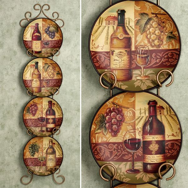 Beautiful plates for a wine cabinet or wine cellar. Decorative ... & 89 best Wine decor images on Pinterest | Wine decor Kitchen ideas ...