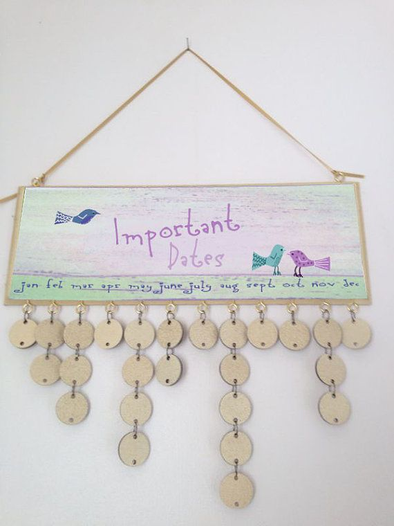 wooden hanging birthday calender birds by madeindevonwithlove, £24.99