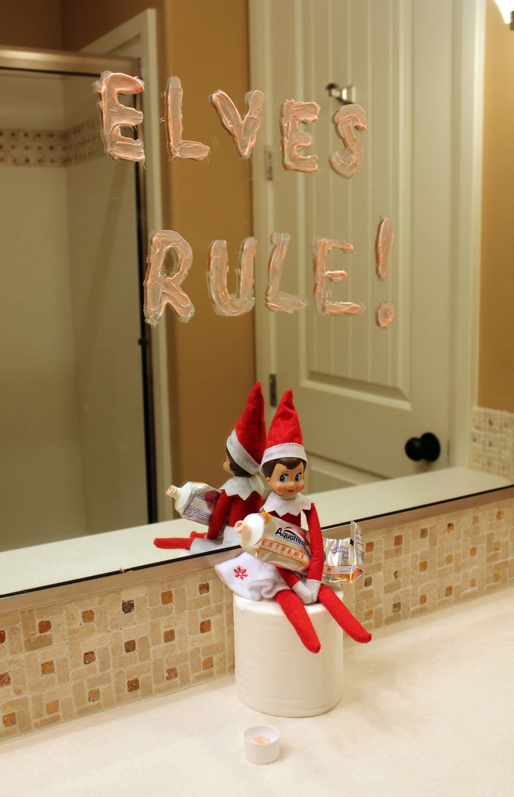 36 best images about elf on a shelf ideas on pinterest for Elf on the shelf bathroom ideas
