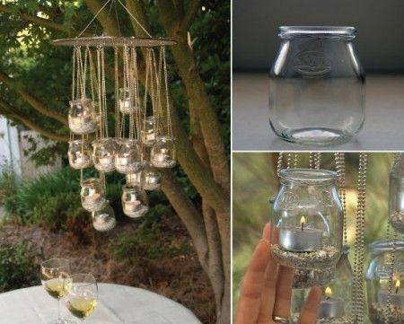 DIY candle chandelier.