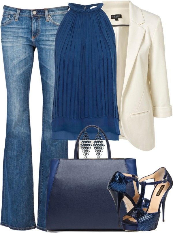 Blueberry and cream.Blouses, Fashion, Casual Friday, White Blazers, Style, Blue, Outfit, Jeans, Dates Night