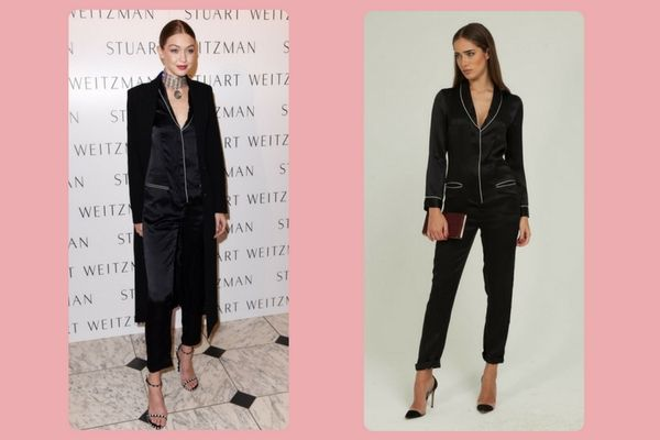 Fleur du Mal Silk Pajama Jumpsuit ($595) vs.Massimo Dutti suit blazer and trousers with piping detail (€149+ €69,95)