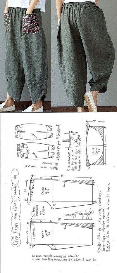 Calça baggy com elástico   DIY - molde, corte e costura - Marlene Mukai