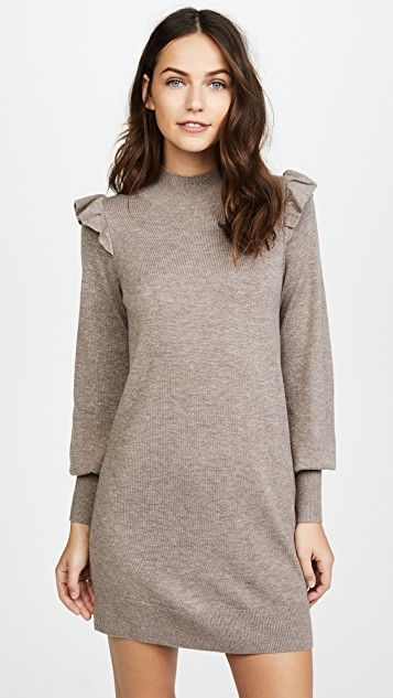 Joie ruffle shoulder knit sweater dress
