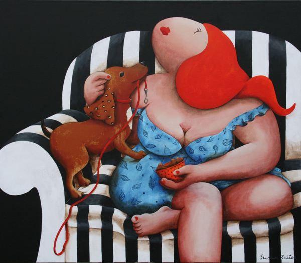 Plenty of dog kibbles for you. Een schilderij van Susan Ruiter Schilderijen