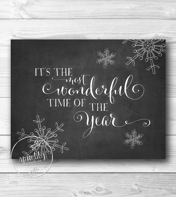 Christmas decor wall art printable decoration holiday print most wonderful time of the year holiday typographic print INSTANT DOWNLOAD on Etsy, $5.00