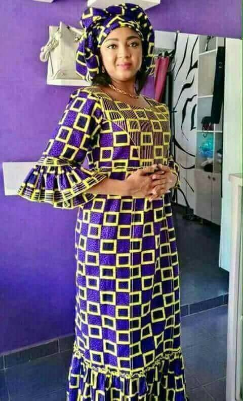 robe longue dame Mode Africaine Pagne, Model Pagne Africain, Robe En Pagne  Africain,