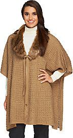 Dennis Basso Regular Sweater Poncho with Faux Fur