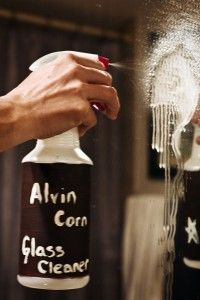 Alvin Corn Glass Cleaner  Which, of course, stands for alcohol, vinegar, and cornstarch.  Supposed to be the best homemade glass cleaner.