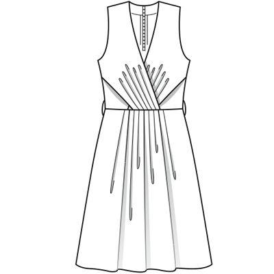 Burda 6/2009 №128 Летнее платье с эффектом запаха и расклешенной юбкой http://burdastyle.ru/vikroyki/platya/plate-burda-2009-6-128/