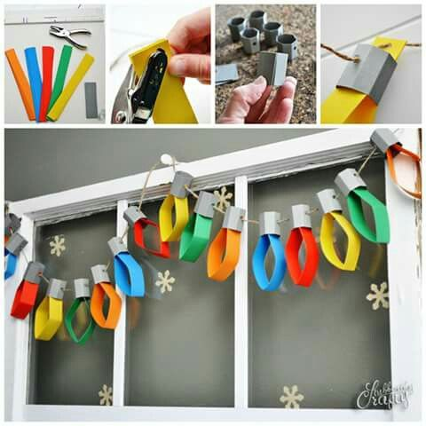 Paper xmas lights! Totally making these to go with my cardboard fireplace.                                                                                                                                                                                 More