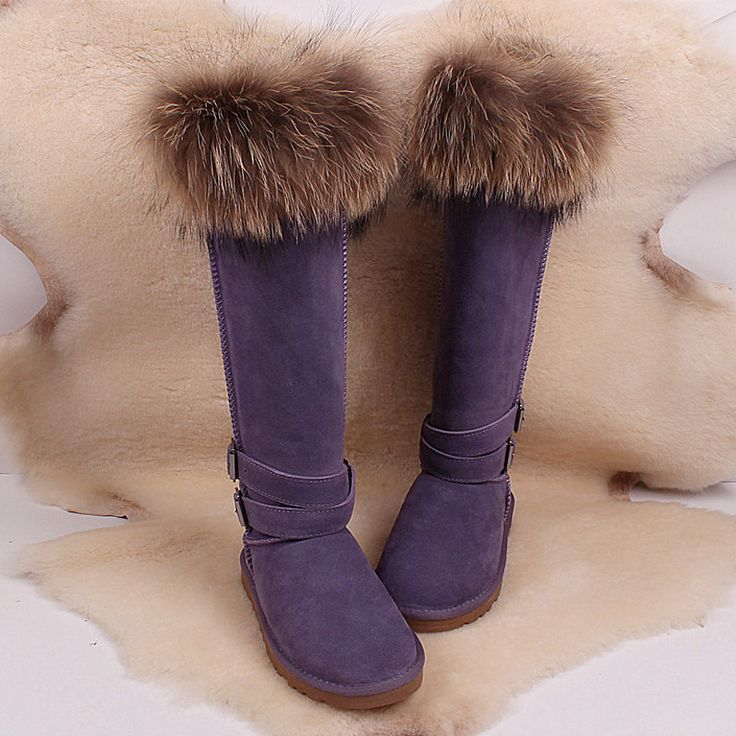 Лисий мех снегоступы женская обувь beightening удлинить более-колено кожа ультра высокие Зимние сапоги