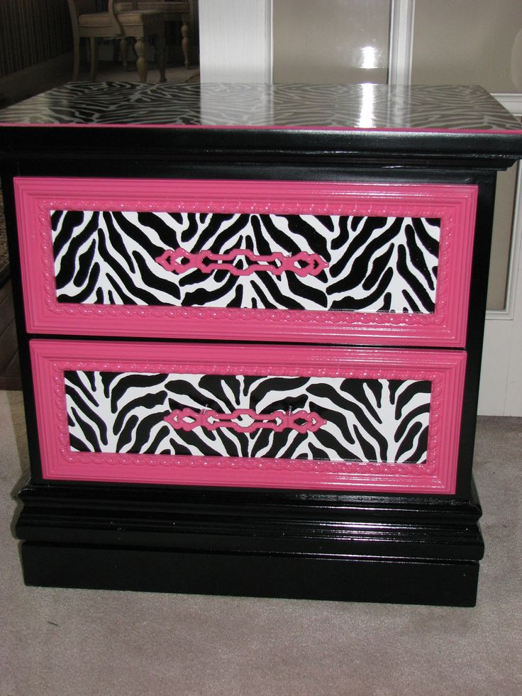 Zebra and Pink Painted Nightstand by TransformedTreasure on Etsy, $185.00