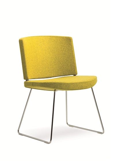 The Kurvi Guest Chair is a fully upholstered ergonomically contoured seat and back featuring an elegant fine line chrome tubing sled base #seated #kurvi #elegant #visitor seated.com.au