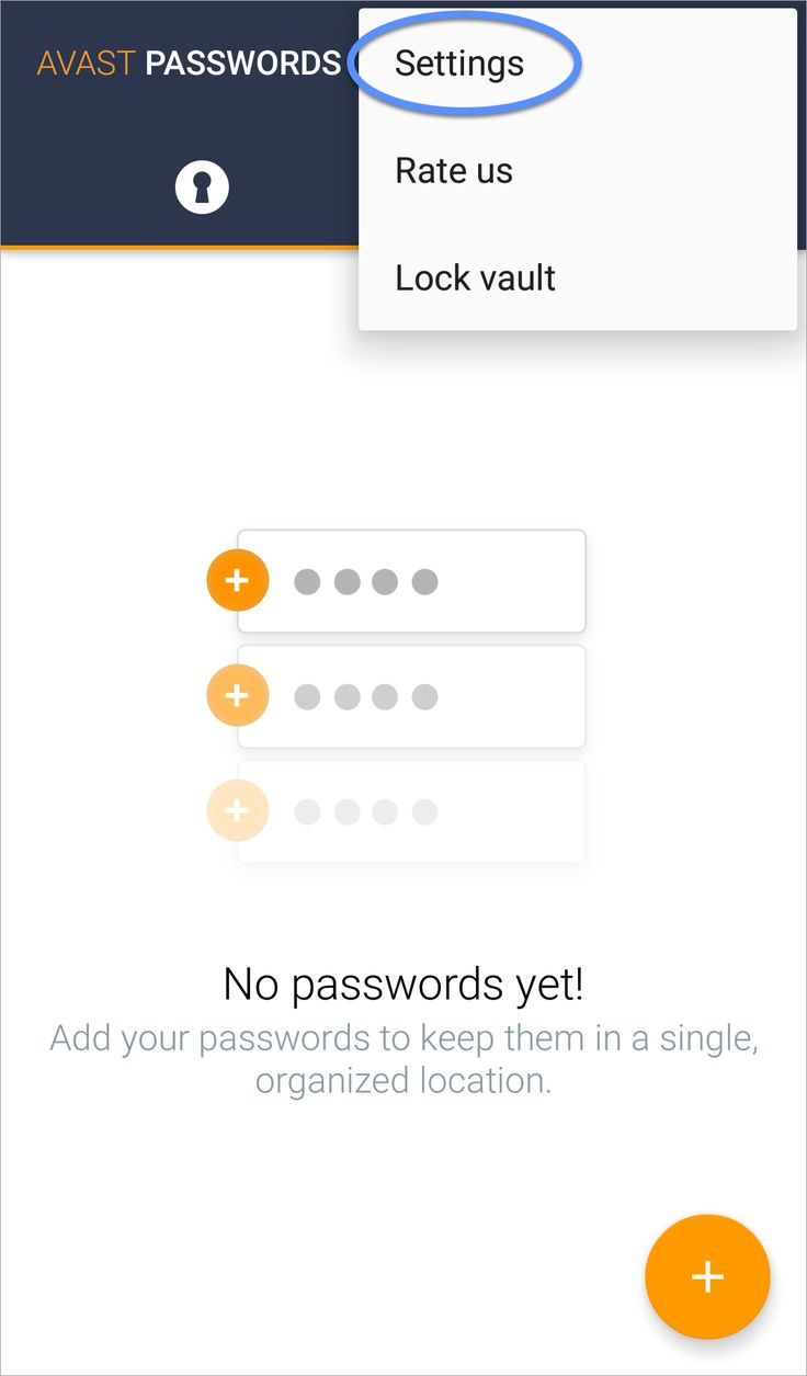 Settings Synchronize Avast Passwords on Android