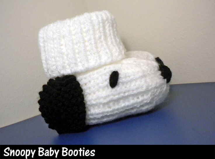 Snoopy Dog Baby Booties Knitting Pattern Knitting - Baby ...