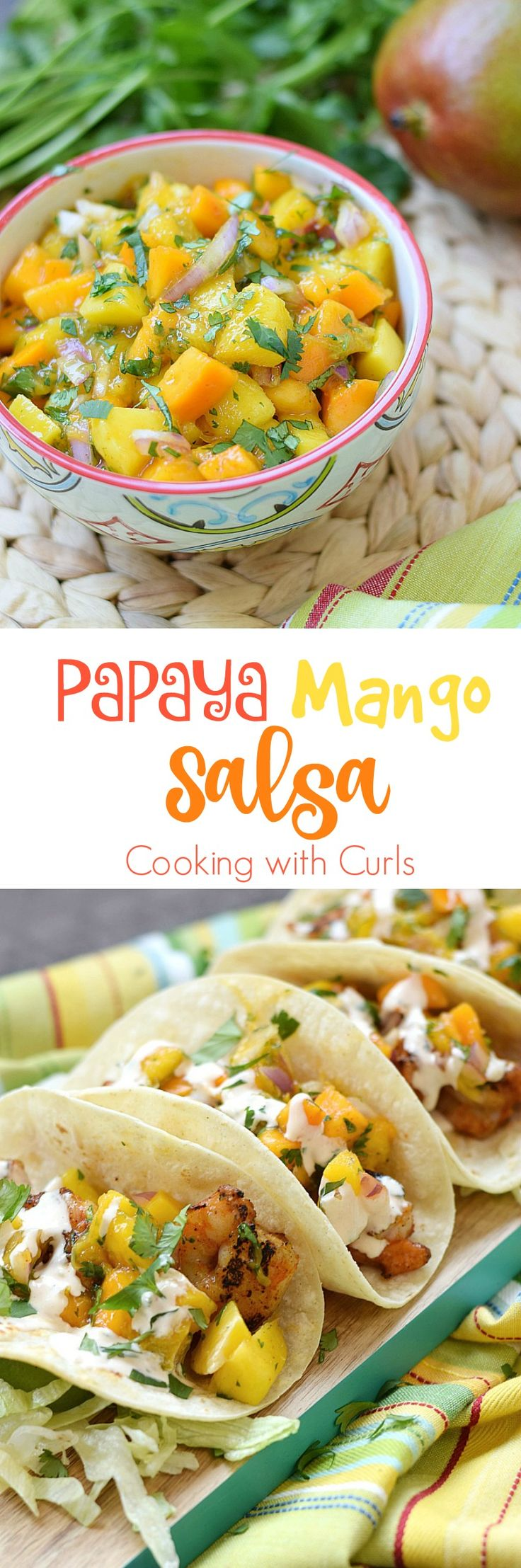 This Papaya Mango Salsa makes a perfect dip for chips, and an even better topping for seafood | cookingwithcurls.com