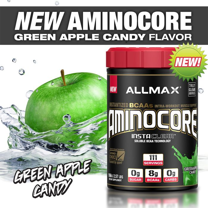 NEW FLAVOR ALERT! #AMINOCORE Taste a punch of sweetness, with a mouth-watering tart of crispness! For those of you who are familiar with Jolly Ranchers, Pop Rocks and Air Heads Candy in Green Apple flavor, then meet your match with #AMINOCORE Green Apple Candy! AMINOCORE has a taste that is truly exceptional. With absolutely no bitterness or aftertaste commonly found in BCAA drinks, you will love your workout even more with ALLMAX AMINOCORE in your shaker cup!