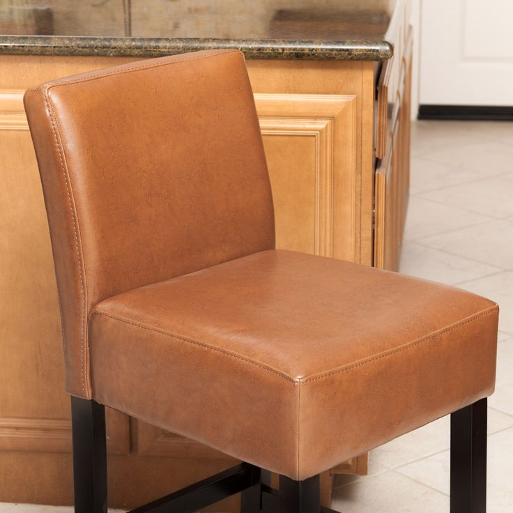 Lopez 26 Inch Hazelnut Leather Counterstools Set Of 2 By Christopher Knight Home Counter Stools Bar Stools Stool